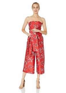 Keepsake The Label Women's Heart and Soul Strapless OBI Belt Cropped Culotte Jumpsuit red Floral S