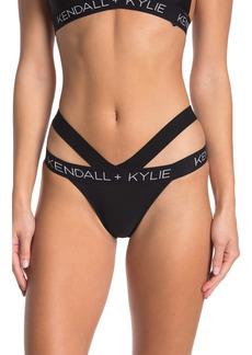 Kendall + Kylie Double Band Logo Bikini Bottoms