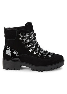 Kendall + Kylie Eon Suede & Patent Leather Combat Boots