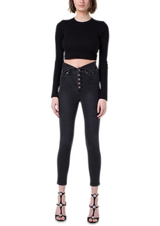 Kendall + Kylie Juniors' Flipped-Waistband Skinny Jeans