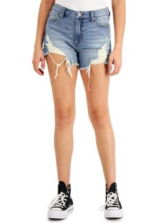 Kendall + Kylie Juniors' High-Rise Destructed Jean Shorts