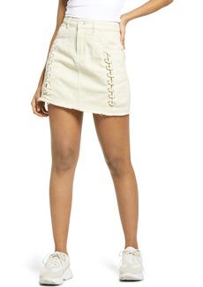 KENDALL + KYLIE Lace-Up Cotton Denim Miniskirt