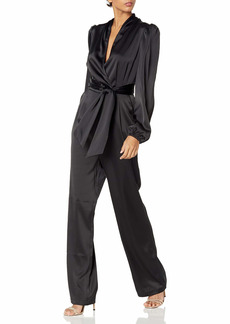 KENDALL + KYLIE Women's Bell Sleeve Belted Jumpsuit