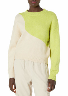 KENDALL + KYLIE Women's Color Blocked Crewneck Sweater Ivory/Mojito