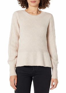 KENDALL + KYLIE Women's Crew Neck Peplum Cable Sweater