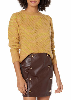 KENDALL + KYLIE Women's Honeycomb Sweater With Shoulder Pad