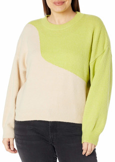 KENDALL + KYLIE Women's Plus Size Color Blocked Crewneck Sweater Ivory/Mojito