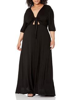 KENDALL + KYLIE Women's Plus Size Front Tie Maxi Dress