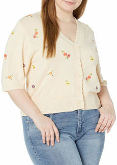 KENDALL + KYLIE Women's Mini Floral Embroidered Cardigan  M