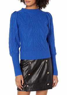 KENDALL + KYLIE Women's Puff Shoulder Crew Neck Sweater