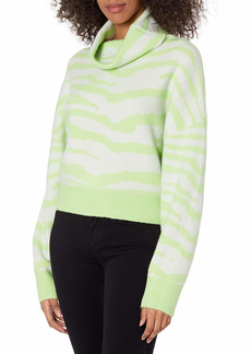 KENDALL + KYLIE Women's Turtle Neck Sweater with Slit Stone/Mint