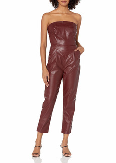 KENDALL + KYLIE Women's Vegan Leather Strapless Jumpsuit