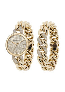 Women's Kendall + Kylie Gold Tone and Crystal Chain Link Stainless Steel Strap Analog Watch and Bracelet Set 40mm