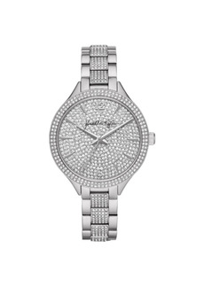 Women's Kendall + Kylie Silver Tone Crystal Embellished Stainless Steel Strap Analog Watch 40mm