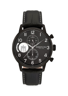 Kenneth Cole Dress Sport Stainless Steel & Leather Strap Chronograph Watch