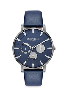 Kenneth Cole Dress Sport Stainless Steel & Leather-Strap Watch