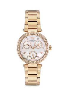 Kenneth Cole Dress Sport Stainless Steel, Crystal & Mother-Of-Pearl Chronograph Bracelet Watch
