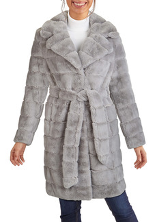 Kenneth Cole New York Grooved Faux Fur Belted Coat