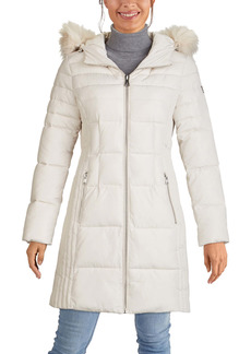 Kenneth Cole New York Hooded Puffer Coat with Faux Fur Trim
