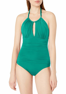 Kenneth Cole New York Women's High Neck Keyhole Halter One Piece Swimsuit  L
