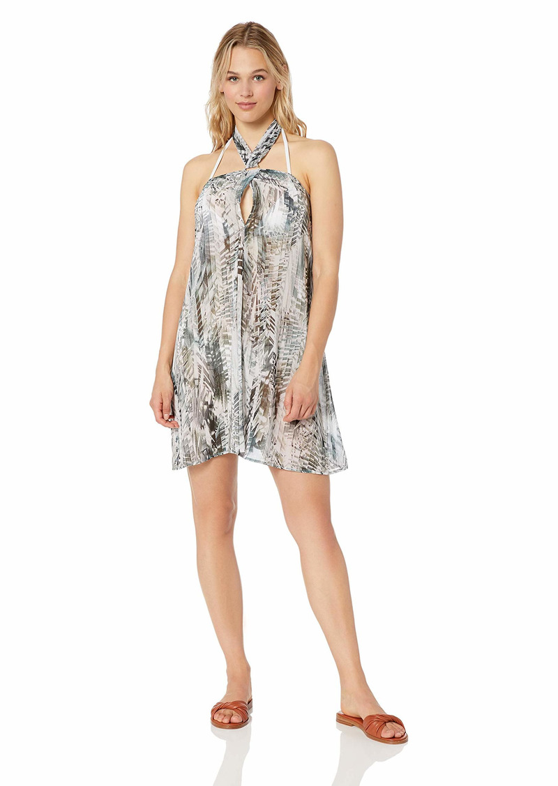 Kenneth Cole New York Women's Keyhole Halter Beach Cover Up Dress Olive//Leaf it to me L