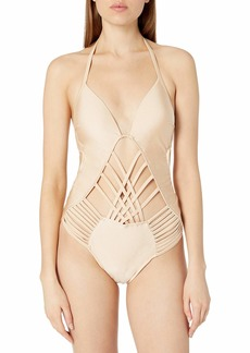 Kenneth Cole New York Women's Stappy Push Up Mio One Piece Swimsuit  M