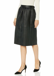 Kenneth Cole Women's Faux Leather Pleated Midi Skirt  L