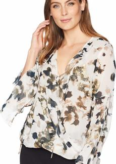 Kenneth Cole Women's Wrapped Front Flouncy Sleeve TOP URB CAMOFLGE-Multi XS