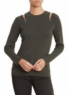 Kenneth Cole Women's Zip Shoulder Ribbed Sweater deep Forest XL