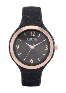 Kenneth Cole Women's Reaction 3 Hands Black Dial Silicone Watch, 42mm
