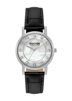 Kenneth Cole Women's Reaction 3 Hands Mother of Pearl Light Dial Synthetic Leather Watch, 32.5mm