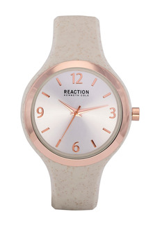 Kenneth Cole Women's Reaction 3 Hands Silver Dial Silicone Watch, 42mm