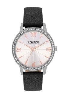Kenneth Cole Women's Reaction 3 Hands Silver Dial Synthetic Leather Watch, 40mm