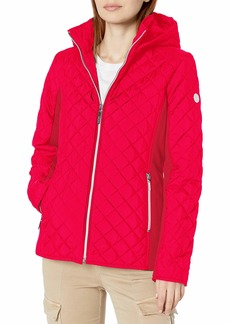kensie Women's Active Quilted Jacket with Ponty Detail and Fully Removable Hood  S
