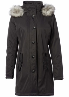 kensie Women's Bonded Button Up Parka with Faux Fur Trimmed Fully Removable Hood  S