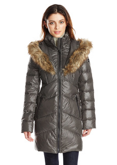 kensie Women's Chevron Quilted Polyfill Coat with Heart Shaped Faux Fur Trimmed Hood  XL