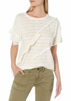 kensie Women's Slub Ruffle Tee Shirt  M