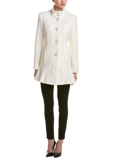 kensie Women's Stand Collar Button Up Wool Skirted Coat-l9401  M