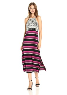 kensie Women's Striped Halter Mixi Dress with Crochet Lace  M