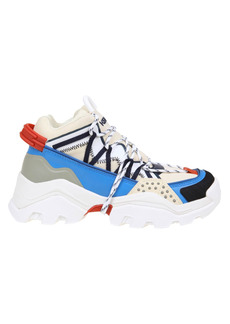 Kenzo Inka Sneakers In Leather And Multicolor Fabric