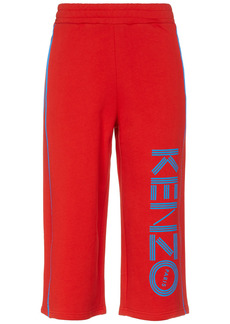 Kenzo Woman Cropped Printed French Cotton-terry Track Pants Tomato Red