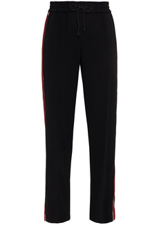 Kenzo Woman Striped Stretch-crepe Track Pants Black