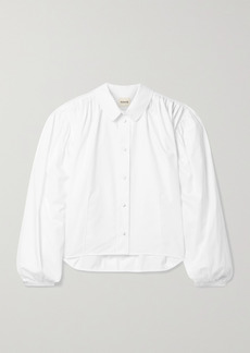 Khaite Carolanne Pleated Cotton-poplin Shirt
