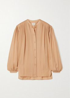 Khaite Denny Gathered Silk-crepe Shirt