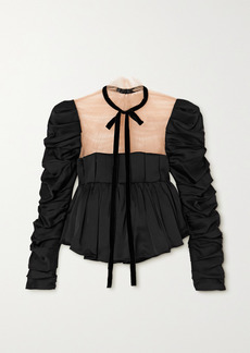 Khaite Fanny Tie-detailed Ruched Satin And Tulle Top