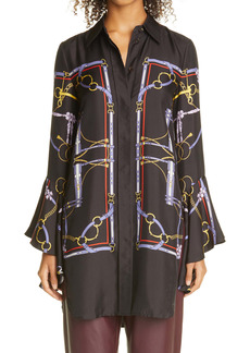Khaite Ascher Equestrian Print High/Low Silk Shirt