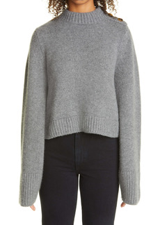 Khaite The Brie Button Shoulder Cashmere Sweater