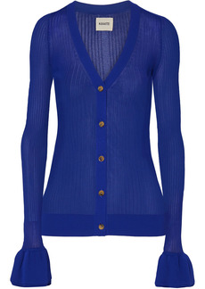 Khaite Woman Eloise Ribbed Stretch-knit Cardigan Indigo