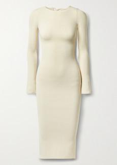 Khaite Viva Lace-up Ribbed Stretch-knit Midi Dress
