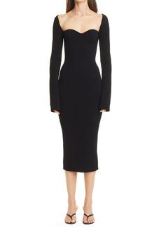 Women's Khaite Beth Rib Bustier Long Sleeve Dress